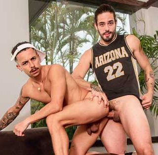 Andre Runk and Leo are working out outdoors when Andre calls Leo to meet up. They head back to the house where they continue working out. Leo rubs his ass up against Andre's dick, and Leo gives him a blowjob.